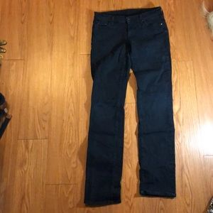 7 for all mankind straight-leg black jeans